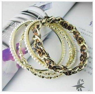 Free Shipping EUR and USA Good Match Leopard Grain 5 piece/set bracelet