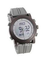Silicone Band LCD Digital Wrist Watch (Silver)Liquid crystal watch,sports watch,free shipping