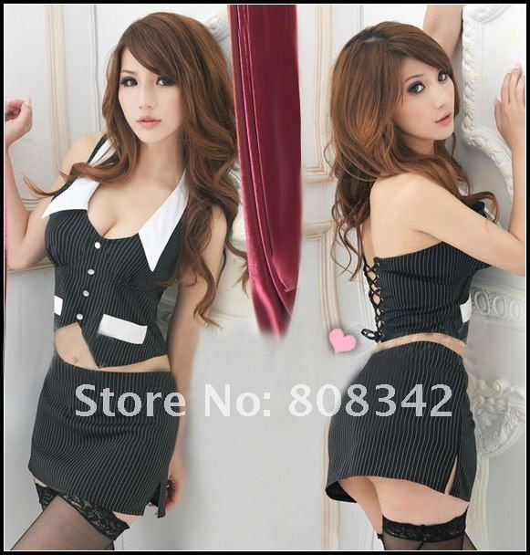 Free Shipping Black Color Sexy Costume Lingerie Sets Sexy Office Lady Uniform Intimate Cosplay Party Costume Wear 6035(China (Mainland))