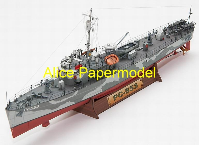[Alice papermodel] Long 33CM 1:200 WWII US destroyers USS PC-553 battleship models(China (Mainland))