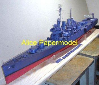 [Alice papermodel] Long 1 meter  WWII US battleship heavy cruiser USS Helena models