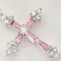 Crystal cross pendant 3PCS pink, green, purple