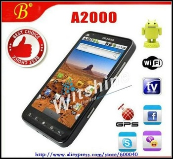 "Android Cell Phones A2000 Gps moible phone android 2.2 wifi 4.3"" touch screen 3.2Mp camera quad band dual sim mobile phone"