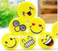 Free Shipping Wholesale 120pcs Cartoon eraser,Stationery,Smiley Face Eraser, Rubber expression eraser Boys Girls Party Toys