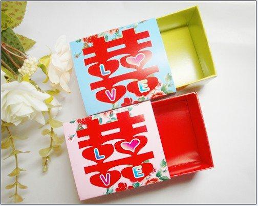 Wholesale - 50pcs Pink And Blue Love Wedding Paper Gift Box Jewelry Candy Box(China (Mainland))