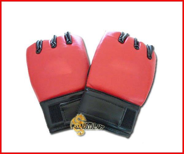 Free Shipping Pu Leather MMA / Wing Chun Fingerless Sandbag Punching Gloves Red Free size Pair (PGBG034) !!(China (Mainland))