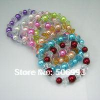 mix colour Elastic stretch pearl crystal bracelet