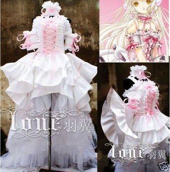 Clamp Chobits Cosplay Costume Lolita Gothic Dress White