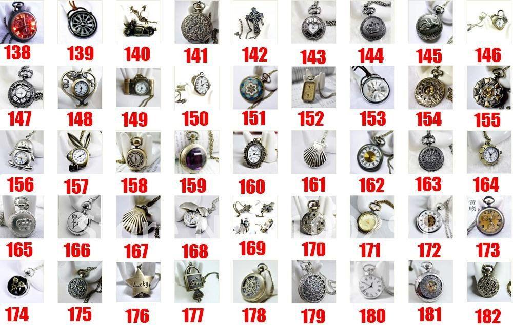 Buy-55423/può progettazione misti!!! Wholeslae ottone antico fascino di bronzo pendente fob tasca orologi collana nichel e leed libero!!