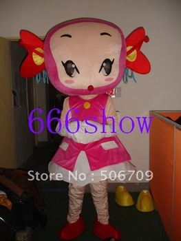 Halloween pink dress girl Cartoon Mascot Costume Free Shipping