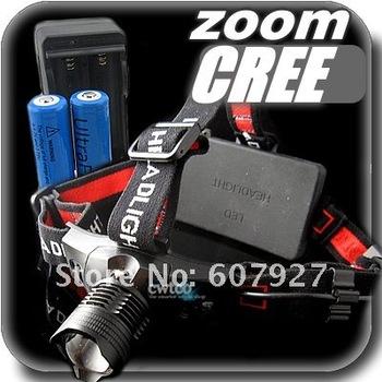 18650 Headlamp 5W 300Lm CREE Q5 LED HeadLight 3 Mode Waterproof Headlamp ZOOMABLE Hiking Headlight +2x 18650 Battery+Charger