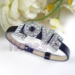 Black Charm leather bracelet with LOVE Crystal Rhinestone 8MM Slide Letters 1pcs/Lot JB3043(China (Mainland))