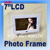"7"" TFT LCD Display Digital Photo Frame With MP3 MP4 Player White Resolution 361"