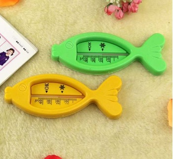 Freeshipping 20pcs/lot Yellow Fish Shape Baby Infant Bath Tub Toy Water Thermometer Fish Shape Thermometer