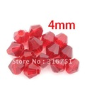 Free Shipping 500pcs Red Cut&amp;Faceted Glass Beads/Crystal glass Spacer Beads 4mm (w00383)