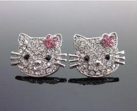 Cute Hello Kitty earrings for women earbob red plum flower crystal earrings for women Wholesale Charms