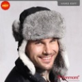 Holiday Sale Best Selling Wind&Water Proof Trapper Hat, Rabbit Fur Russian Hat, Trapper Cap Style KM 2130-01 Black hut