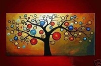 hand-painted oil wall art  rich tree Home Decoration Modern Abstract landscape Oil Painting on canvas12x20inch mixorde Framed