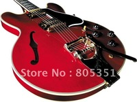 style Musical Instruments Fashion Guitar Custom 355 red white boundary Hole body Electric Guitar