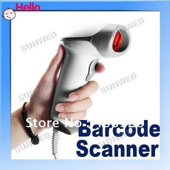 USB Long scan laser Barcode Scanner Bar Code Reader ABS Plastic Milk White Wholesale 255