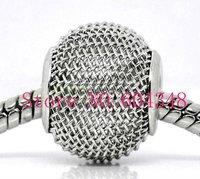 14MM Rhodium Tone Mesh Bead Balls, Metal Big Hole Basketball Wives Beads, Perfect Fits Charm Bracelets, Jewelry Findings-100PCS