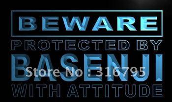 m485-b Beware Basenji Neon Light Sign