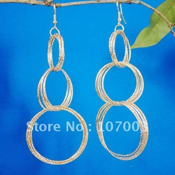 12pairs Sterling Gold Plated Earrings Hook-ups Earrings Big Circles Earrings Multilayer Earrings Free Shipping