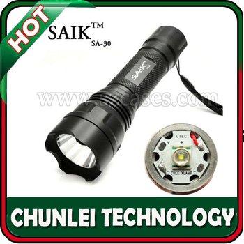 5PC/LOT! SAIK 400LM HIGH POWER Aluminum  3xAAA/18650 CREE LED Flashlight  Torch