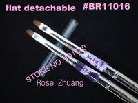 Freeshipping-#4 Flat Sable Acrylic Nail Art Brush Detachable Nail Brushes UV Gel Set [retail] SKU:G0092