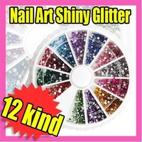 Free Shipping 1800pcs NAIL ART RHINESTONES GLITTER MIXED TIP GEMS +WHEEL Wholesale 067