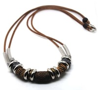 H00011-free shipping(10 pcs per lot)wholesale & retail newest men's custom leather necklaces jewelry