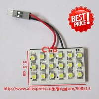 Wholesale 10pcs/lot Car dome light 18 1210 SMD LED light panel White color T10 and Dome light adapter