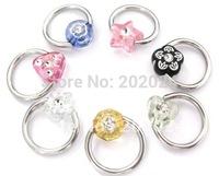 150pcs/lot New Design flower star triangle BCR SS Body Jewelry