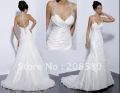 Sexy v-neck halter backless beaded taffeta bridal dresses wedding gowns W060