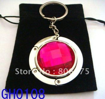 Wholesale fashion 4.5cm round metal foldable bag hanger, 12pcs/ lot mixed color  GH0108