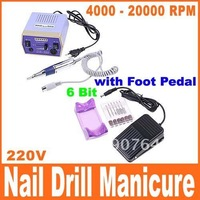 Electric Nail Drill Manicure Machine 6 Drill Bits 4000-20000 RPM with Foot Pedal(110-120V), Free Shipping