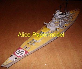 [Alice papermodel] Long 1 meter 1:250 WWII sms battleship DKM Bismarck warship boat models