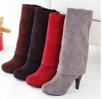 2011 new / stretch velvet boots / nubuck leather women's boots / high-heeled high boots / knee boots round