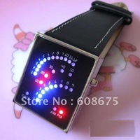 1pcs HOT Best Selling Free shipping Fan-like Display LED Watch colorful led light