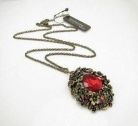 Wholesale 10pcs/lot  Retro flower red  ruby long necklace  free shipping