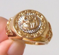 Ring.Size S(9).U(10).W(11)Free shipping.Gift insurance. Provide tracking numbers. Men's Lion's Head18K GP Yellow Gold Ring.