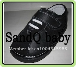 100% blk leather baby velcro strap shoes 15$ off per 150$ order