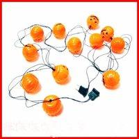 free shipping 5set/lot high quality Hallowmas 12 pcs LED pumpkin lanterns strip with plug/ hallowee LED pumpkin lanterns stripe