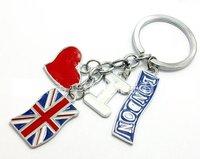 OEM wholesale free shipping: 2012 London+UK flag key ring,1200pcs/lot