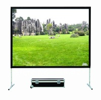 "84"" Rear and Front Fabric portable fast fold screen with flightcase free shipping"