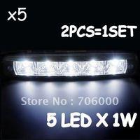Wholesalel Lots Of 5 Brand NEW High Power Waterproof Car LED DRL Daytime Running Light 12V / 24V 10W (5 LEDS / PCS)