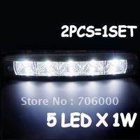 Brand NEW High Power Waterproof Car LED DRL Daytime Running Light 12V / 24V 10W (5 LEDS / PCS)