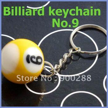 "Free shipping 5pcs/lot Pool Billiard snooker ball keychain keyring new gift 1""  N0.9"