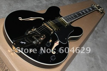 best Musical Instruments Custom Shopwith Bigsby, Antique Ebony Electric Guitar