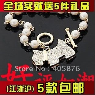 Free shipping Korean jewelry chain dog puppy Beaded Rhinestone Pearl Bracelet(China (Mainland))